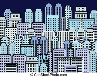 City illustration - blue skyscrapers and modern buildings...
