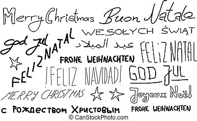 Christmas cultures - Merry Christmas - holiday wishes doodle...