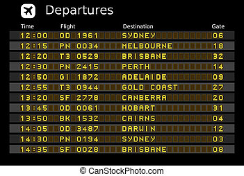 Australia airports - Departure board - destination airports....