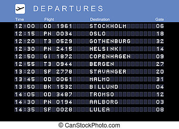 Nordic destinations - Departure board - destination airports...