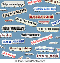 Housing market crisis - Newspaper cuttings and headlines....