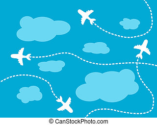 Air travel background - airline routes, sky and clouds...