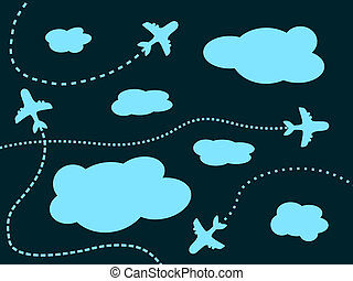Airplane background - Air travel background - airline...