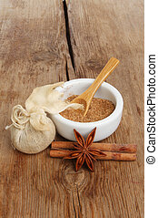 Spices on wood - Chinese five spice star anise and cinnamon...