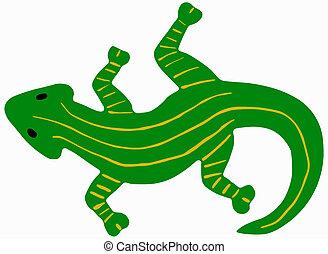 green salamander - Green salamander with yellow stripes