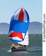 Sailboat running with the wind under spinnaker - Sailboat...