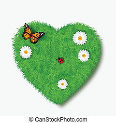 Love icon from grass background