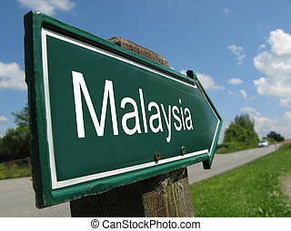 MALAYSIA arrow signpost along a rural road