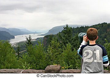 View point - A child looking from the view point to see the...