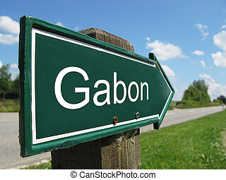 Gabon signpost along a rural road