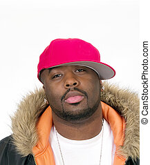 Young Black Man in Red Ball Cap - Young Black Man in Ball...