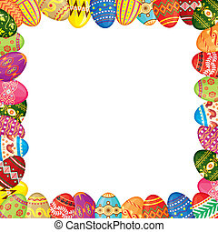 Easter eggs frame - Frame of multicolor painted Easter eggs