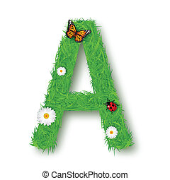 Grass Letter A on white background