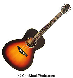 Acoustic guitar - Brown wooden acoustic guitar isolated on...
