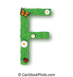 Grass Letter F on white background