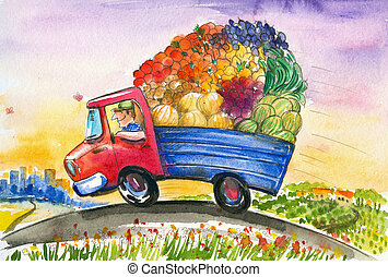 Truck - The gardener delivers early in the morning fresh...