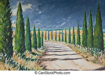 Tuscany landscape acrylic painted