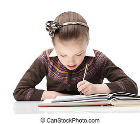 Writing properly - Pupil writes something at her notebook,...