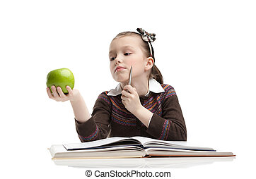 To eat or not to eat - Little girl hesitates about eating a...