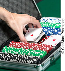 Poker set in metal suitcase Addiction to the gambling