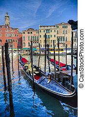 Gondolas, Venice, Italy - Gondolas docked in Venice, Italy