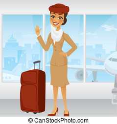 Cartoon Middle Eastern Flight Attendant waving in an airport...