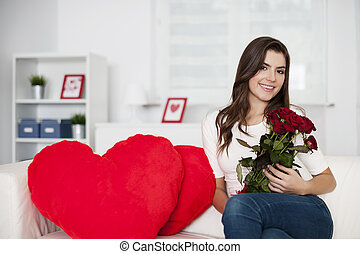 Valentines day with bouquet of red roses