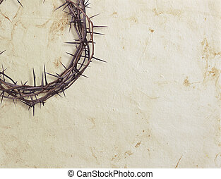 Crown of thorns on textured background - Crown of thorns on...