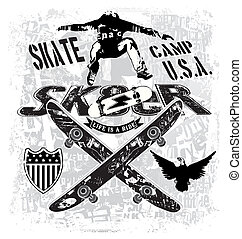 usa skate camp - illustration for shirt printed and poster