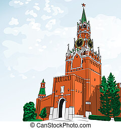 Vector sketch of the Moscow Kremlin, Russia
