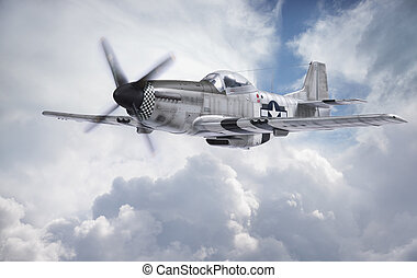 World War II era fighter flies among clouds and blue sky - A...