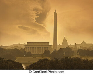 Washington DC skyline under stormy clouds - The Washington...