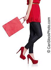 bajo, sección, mujer, ella, rojo, compras, bolsa