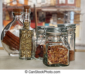 Pretty Jars With Dried Herbs - A collection of pretty...