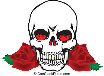 Skull and Roses Vector Graphic