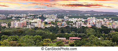 Hyderabad - Panoramic view of Hyderabad city in India