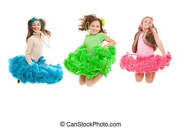 fashion kids jumping - happy smiling  fashion kids jumping