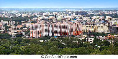 Hyderabad city - Panoramic view of Hyderabad city in India