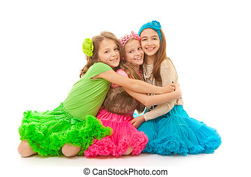 friends hugging smiling and happy - group of young friends...