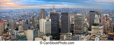 Sao Paulo - Panoramic view of downtown Sao Paulo in twilight...
