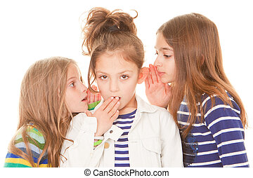 kids whispering bad news gossip scandal to shocked child