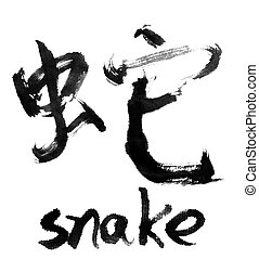 snake - Chinese calligraphy word : snake
