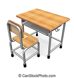 School Desk 3D render illustration Isolated on White