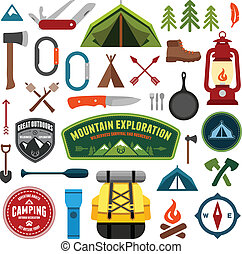 Camping symbols - Set of camping equipment symbols and icons