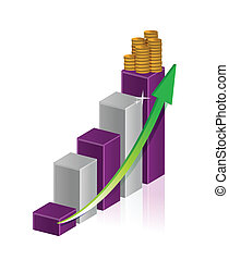 illustration of gold coin bar with graph and arrow