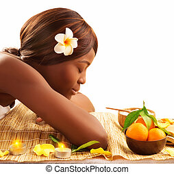 African woman at spa - Photo of lovely African woman with...