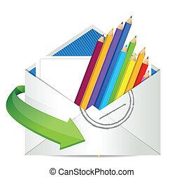 color pencils inside an envelope.