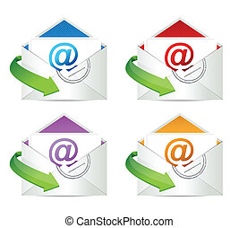 set of mail envelopes icons. Email color