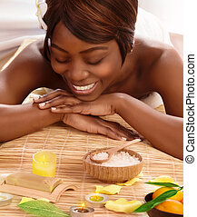 African woman on massage table - Photo of attractive african...