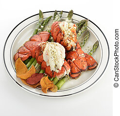 lobster Tails - Grilled Lobster Tail Served With Asparagus